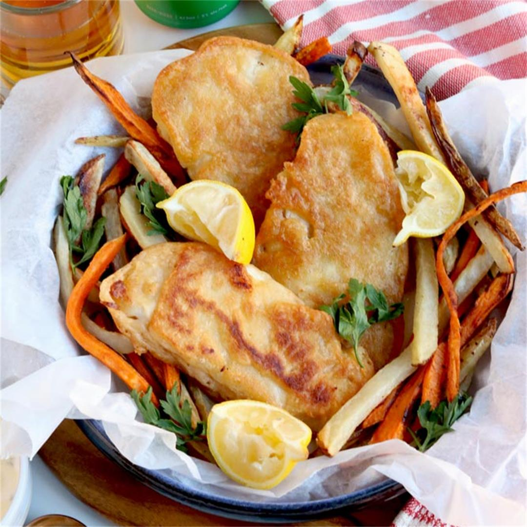 Lightened Up Beer Battered Fish & Chips