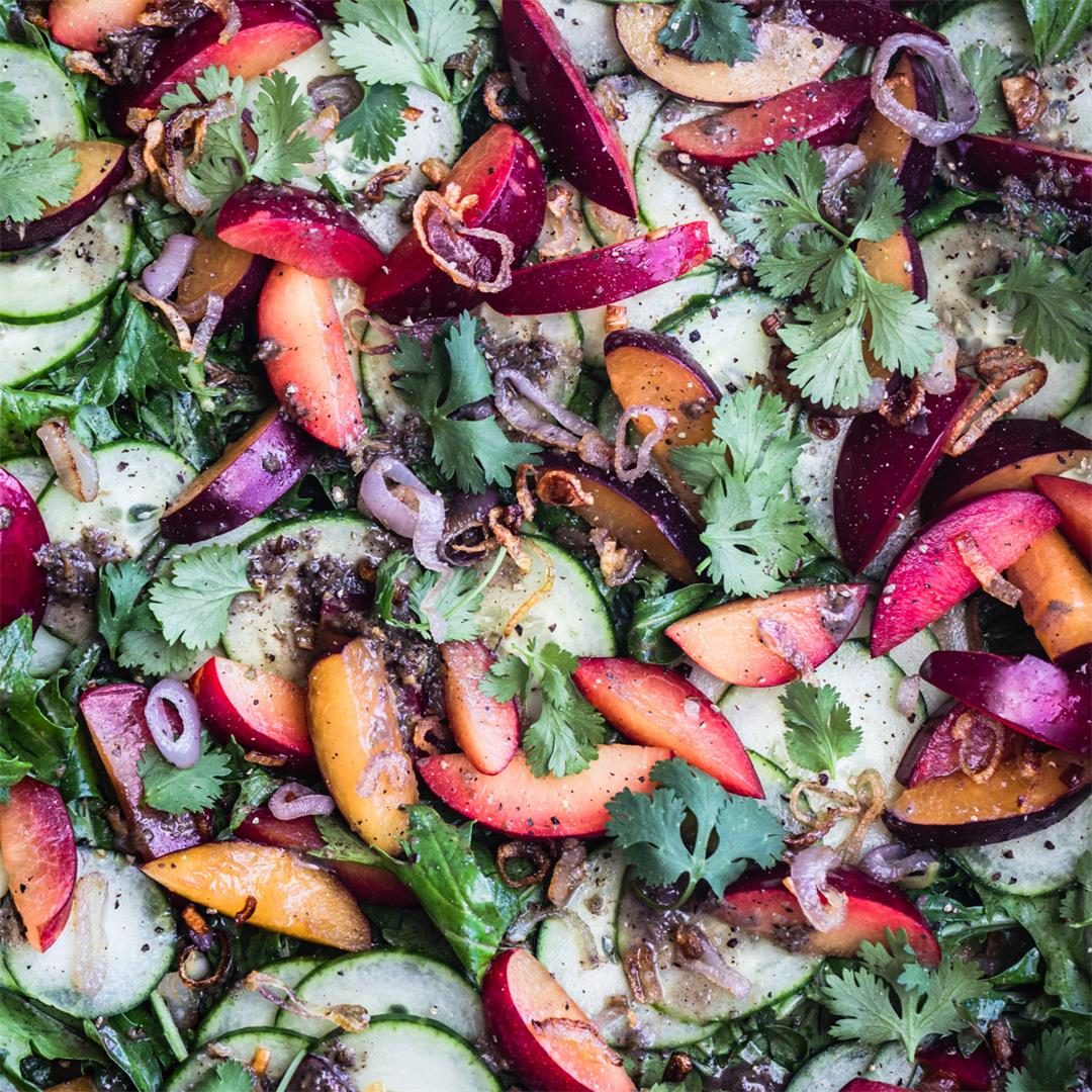 Plum & Cucumber Salad with Roasted Ginger Vinaigrette