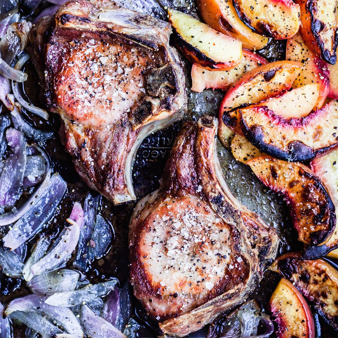 Pork Chops with Charred Red Onions & a Seasonal Fruit