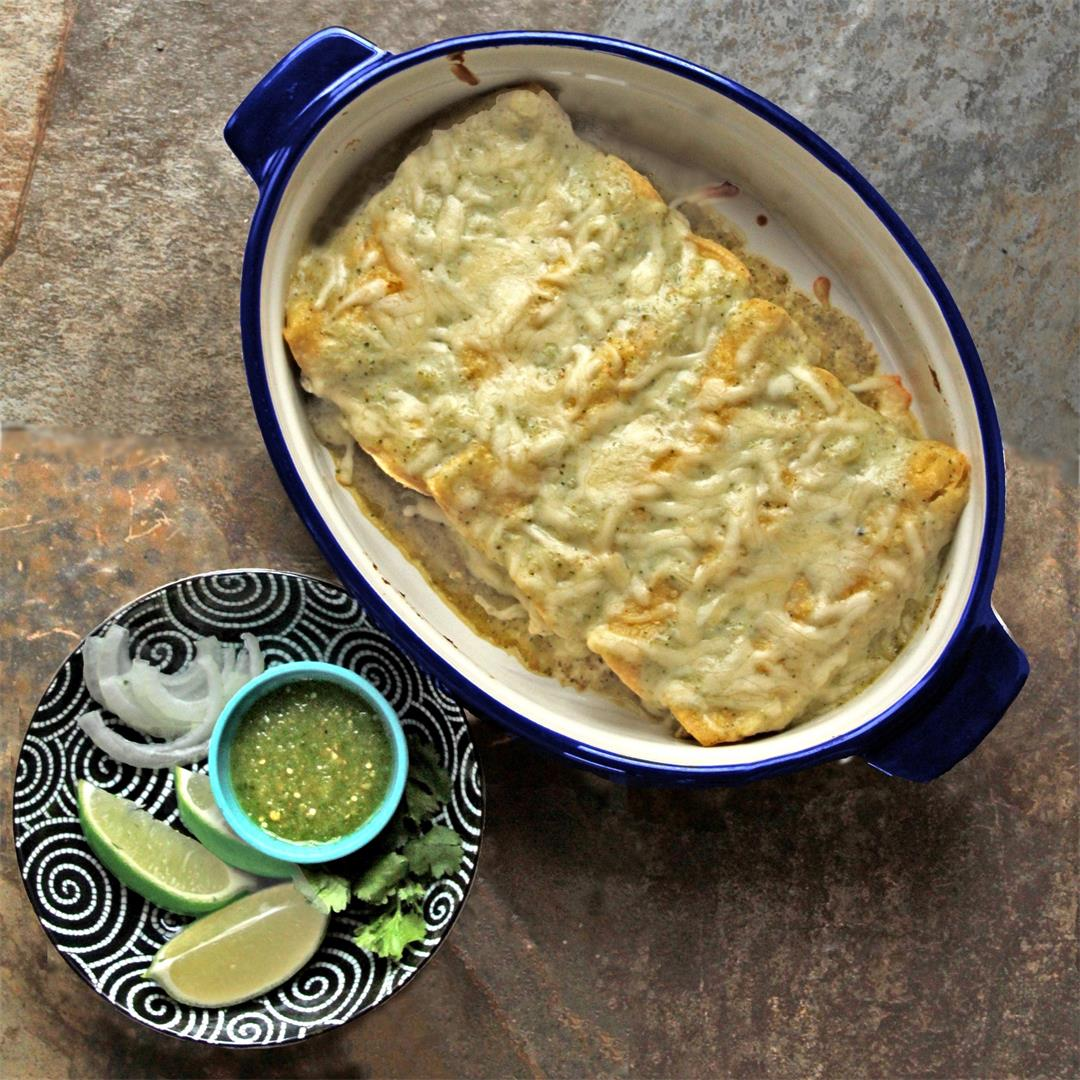 Creamy Green Chile Turkey Enchiladas