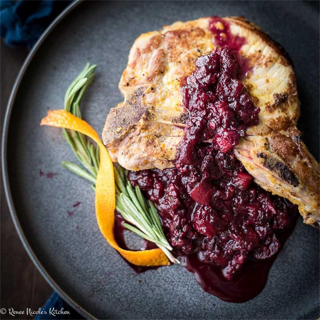 Pork Chops and Applesauce with Blackberries