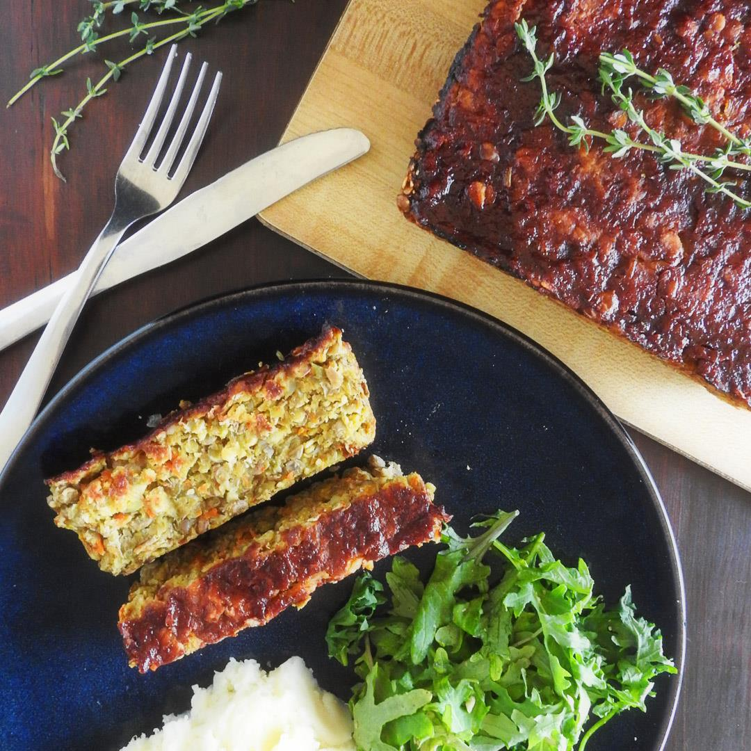 Vegan Lentil Loaf with Balsamic Glaze