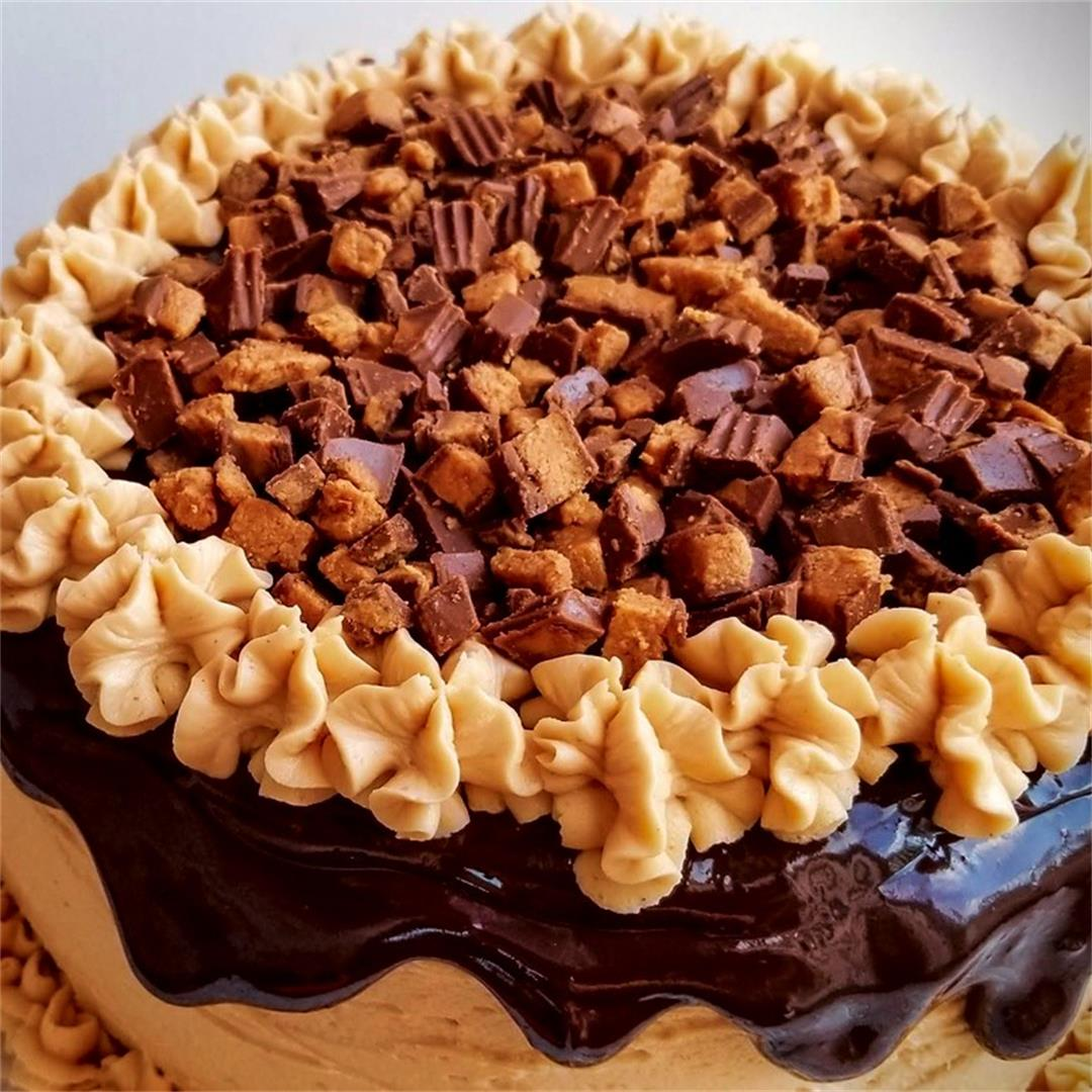Dark Chocolate Cake with Peanut Buttery Buttercream