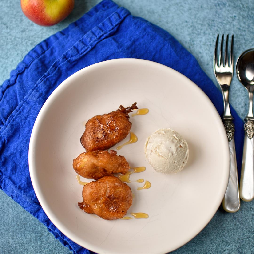 apple doughnuts with toasted pine nut ice cream