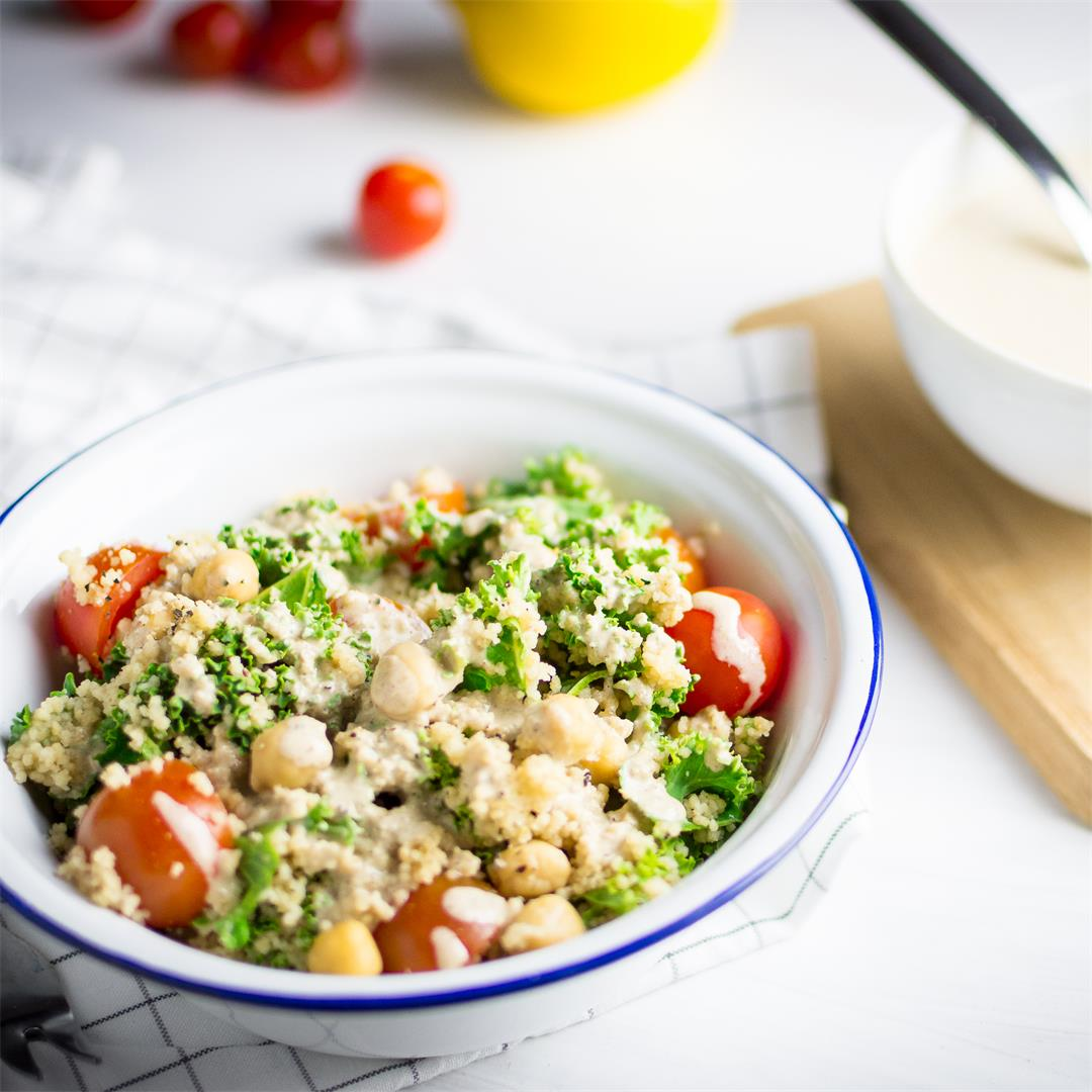 Couscous kale salad with tahini sauce