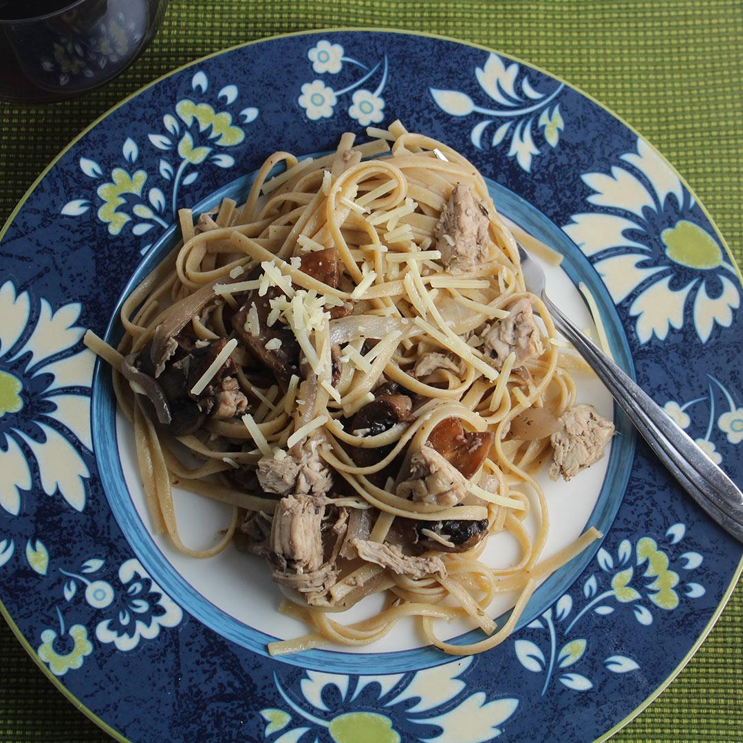 Leftover Turkey Pasta with Mushrooms
