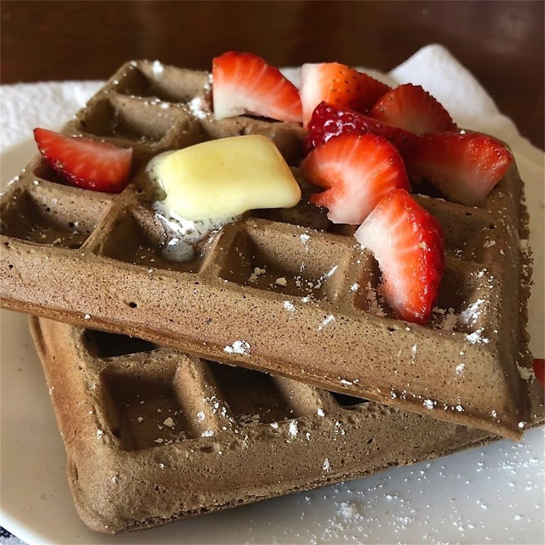 Big, crispy waffles with a touch of chocolate.