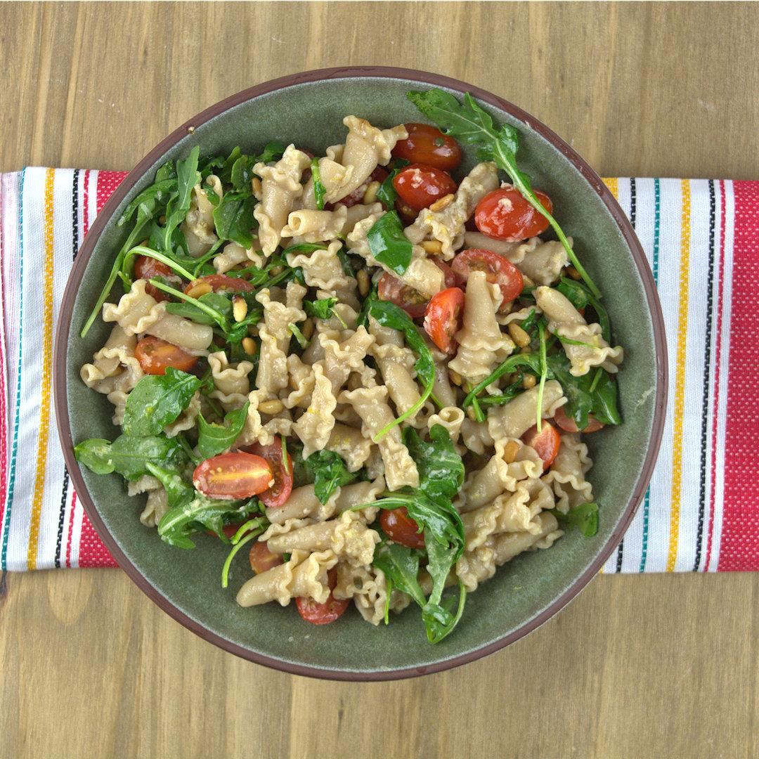 Whole Grain Trumpets with Tomatoes and Arugula