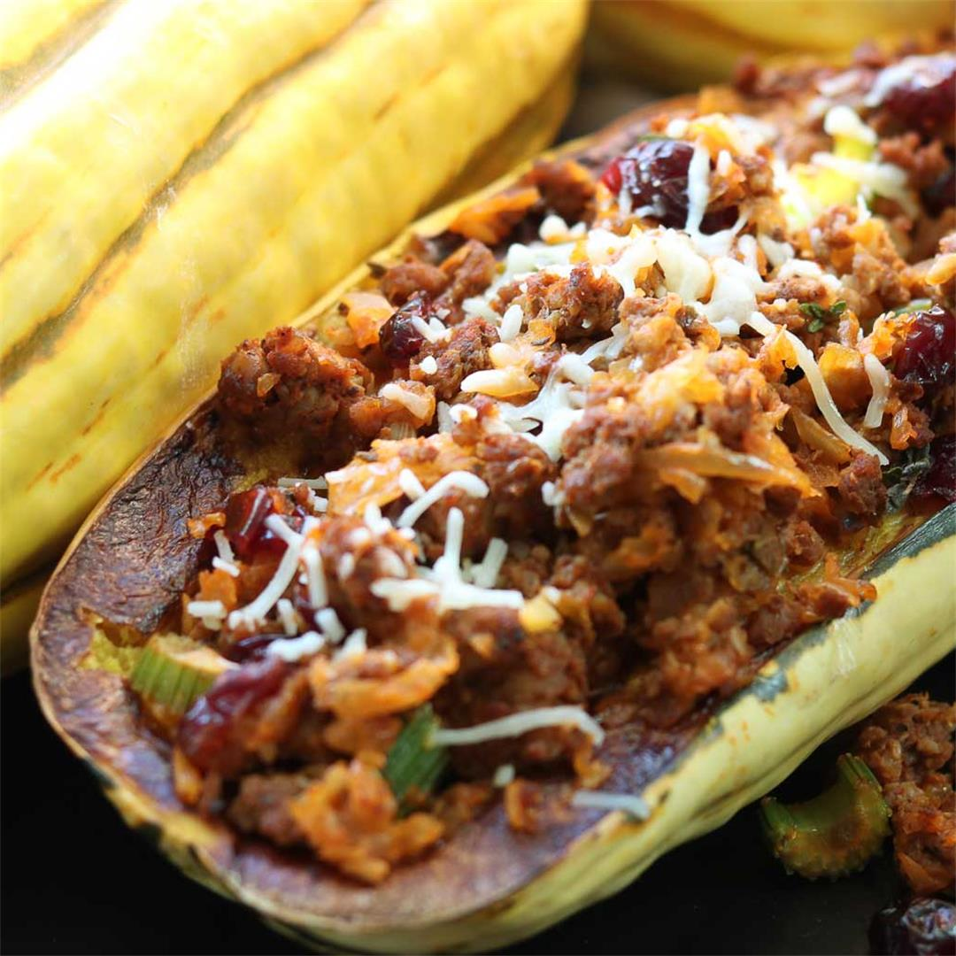 Delicata Squash with Spicy Chicken Sausage and Cranberries
