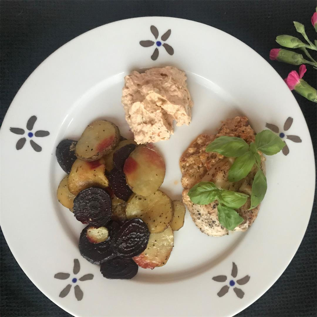 Feta Filled Chicken with Roasted Beets and Potatoes