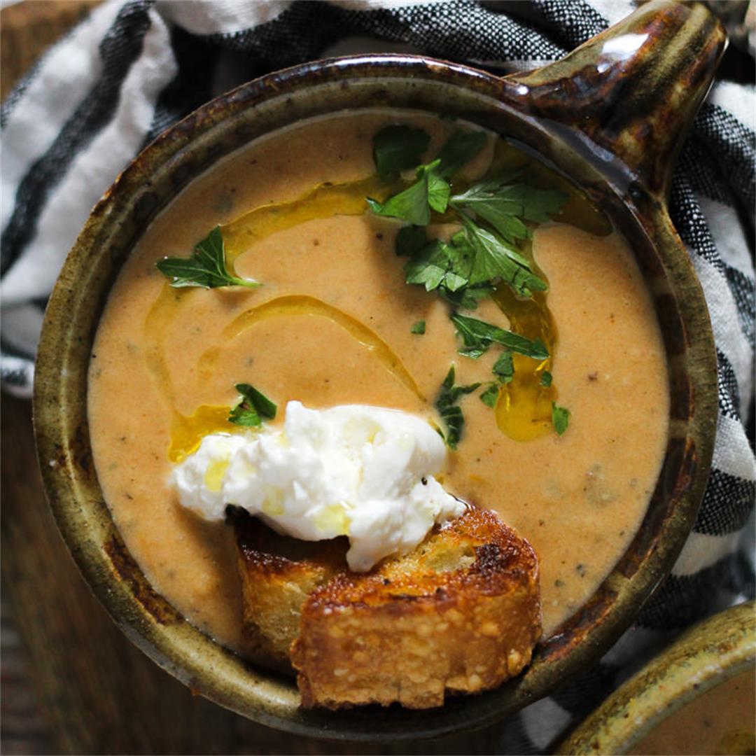 Roasted Tomato Soup with Burrata Crostini