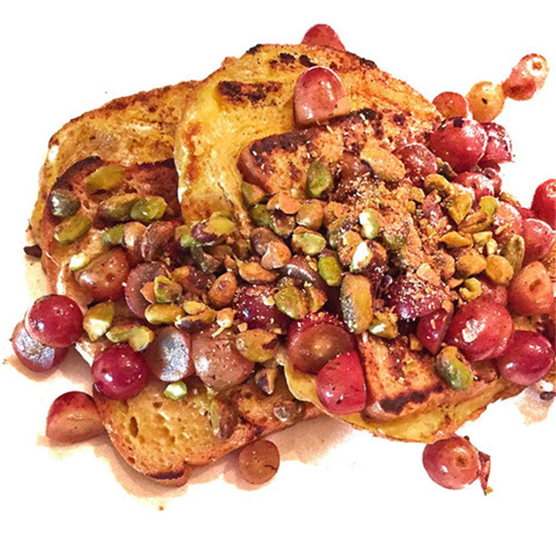 Healthy French Toast with Pistachios & Grapes