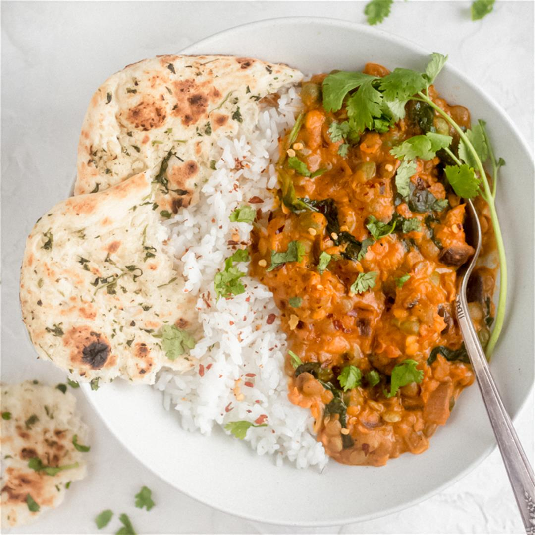 20 Minute Lentil and Spinach Curry