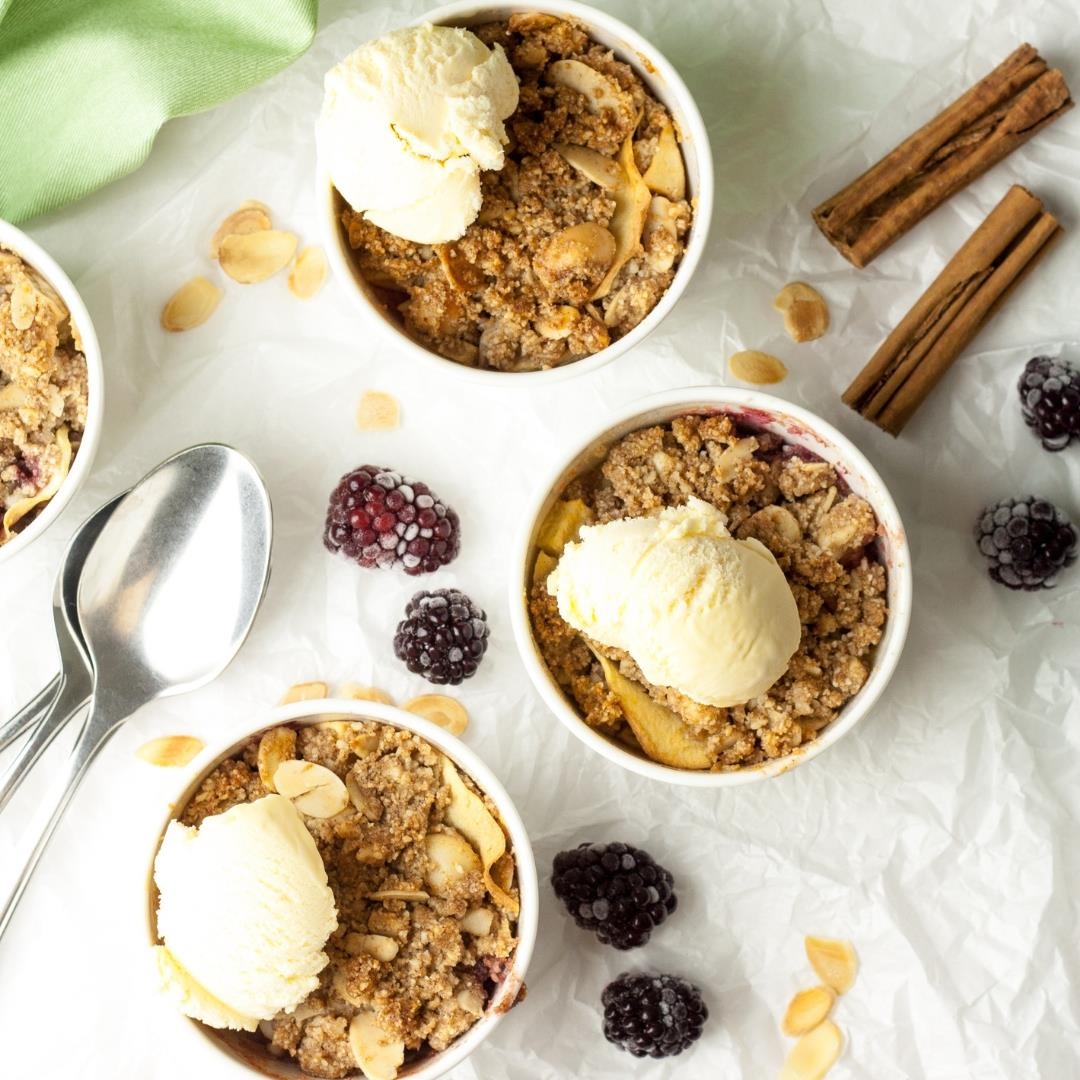 Mini Apple and Blackberry Crumbles
