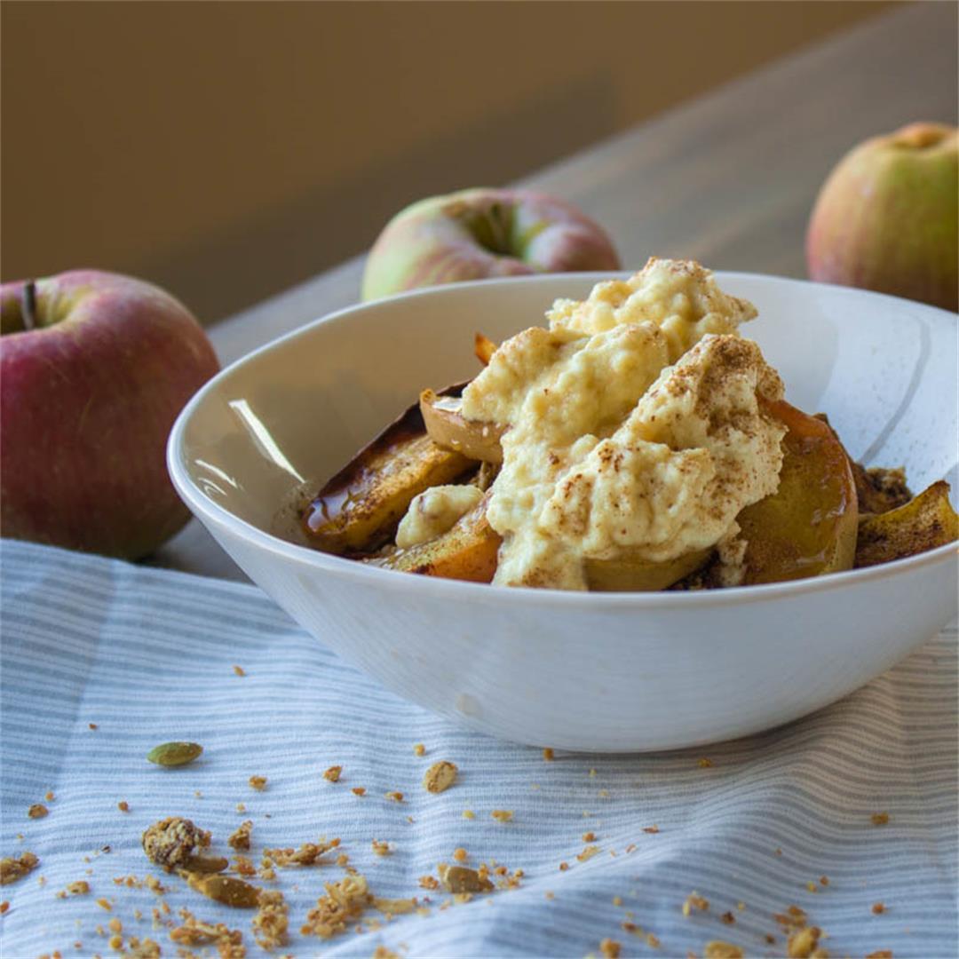 Spiced Apple Granola with Vegan Ricotta