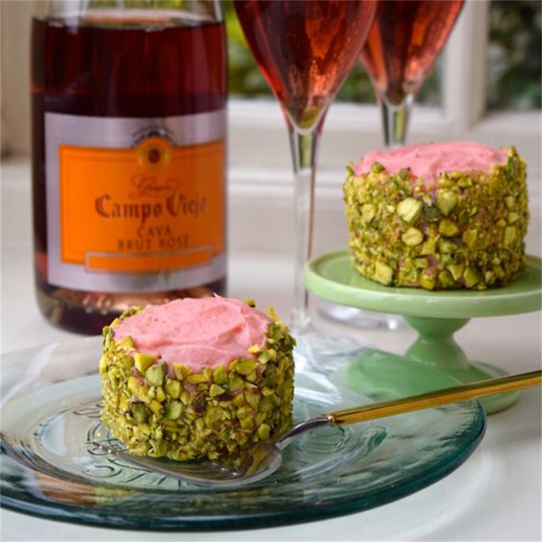 Strawberry Buttercream & Pistachio Mini Cakes