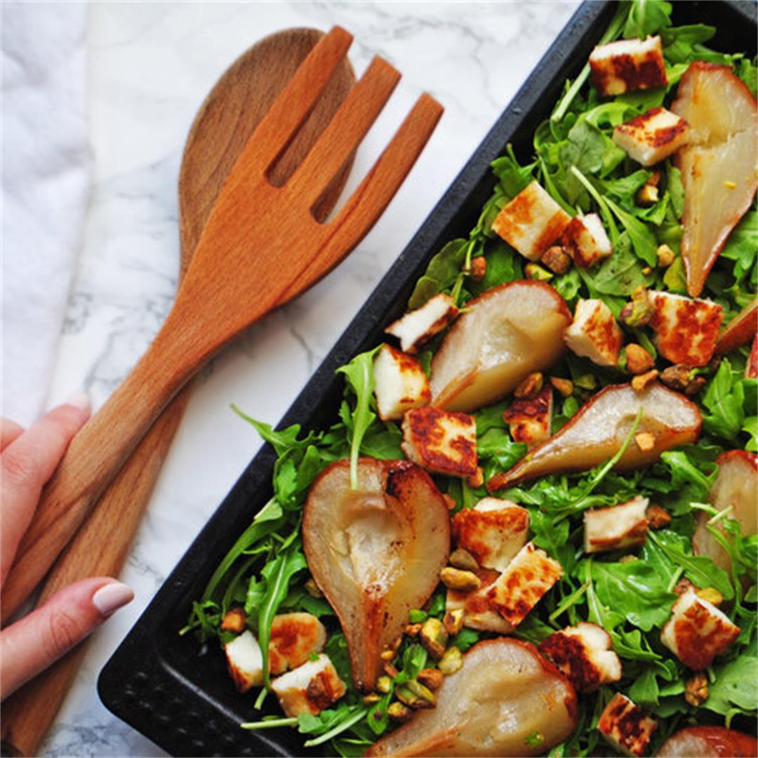 Butter-Roasted Pear + Halloumi Salad