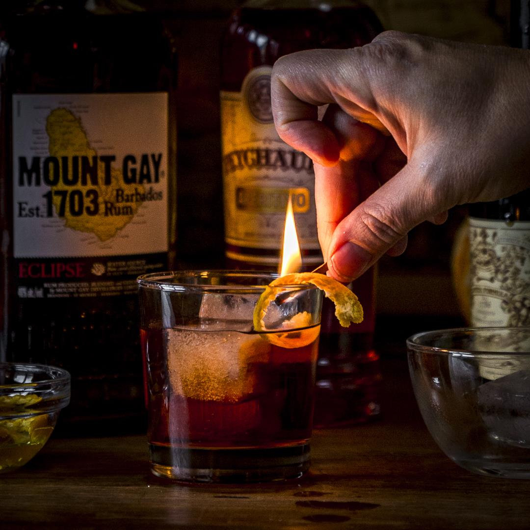 a holiday rum negroni with a little spice & a little fire