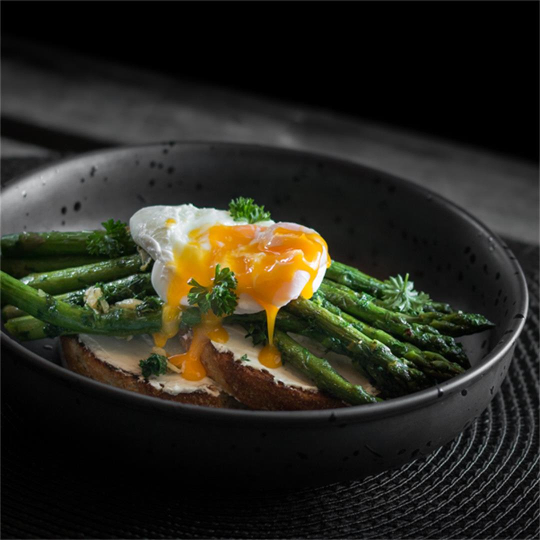 Cream Cheese, Asparagus and Poached Egg on Toast