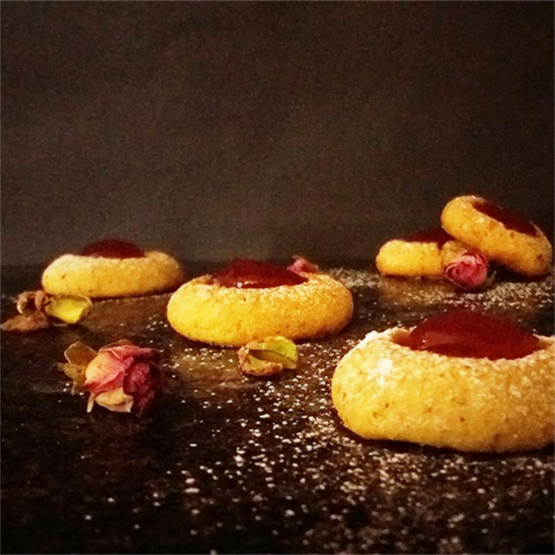 Pistachio Thumbprint Cookies with Rose Jam
