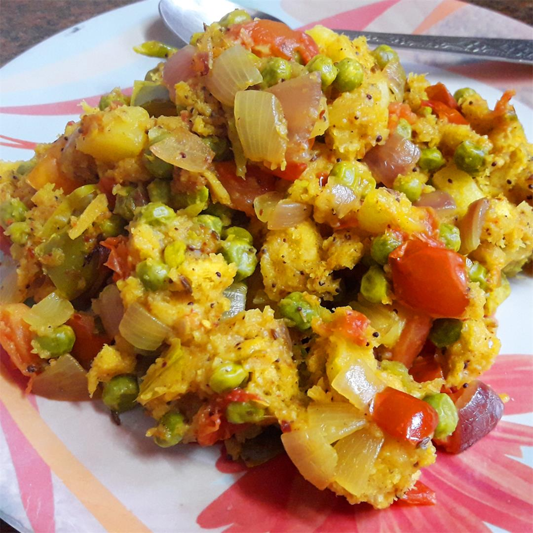 Bread Upma with Vegetables