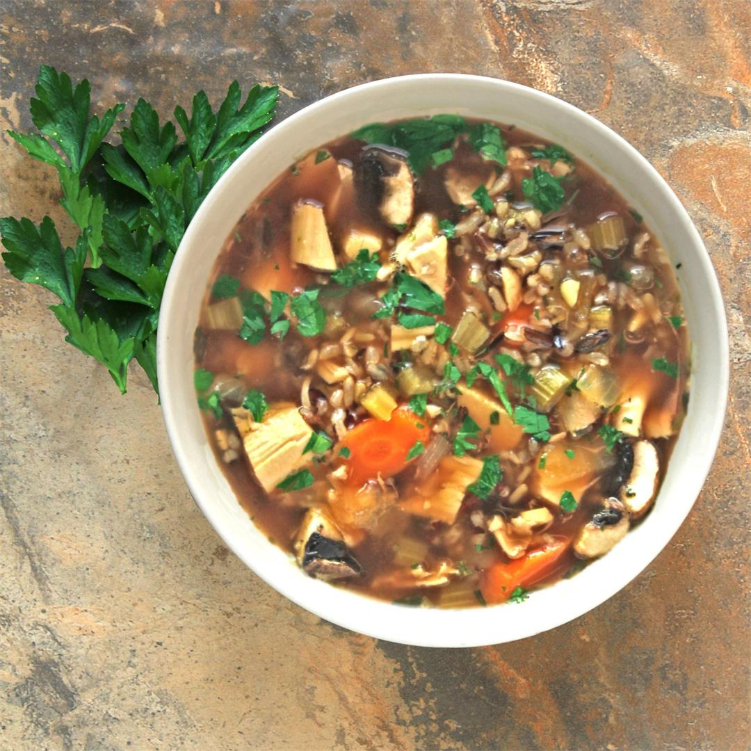 Turkey Wild Rice Soup – use up turkey leftovers deliciously!