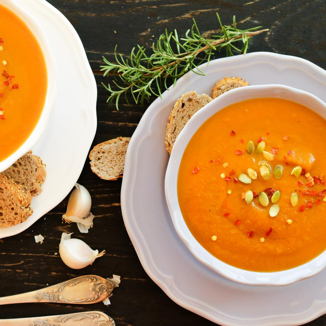 Roasted butternut squash soup with fresh rosemary