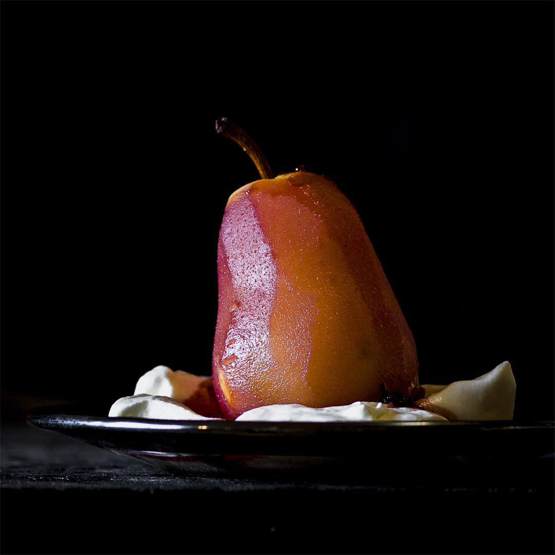 hard cider poached pear with honey whipped cream
