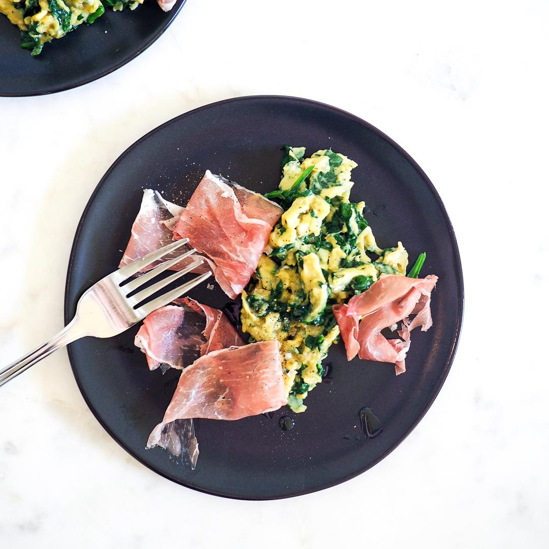 Spinachy Soft Scrambled Eggs with Prosciutto