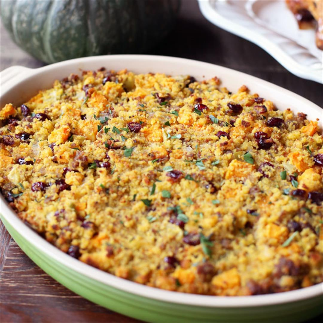 Cornbread Dressing with Sausage and Butternut Squash