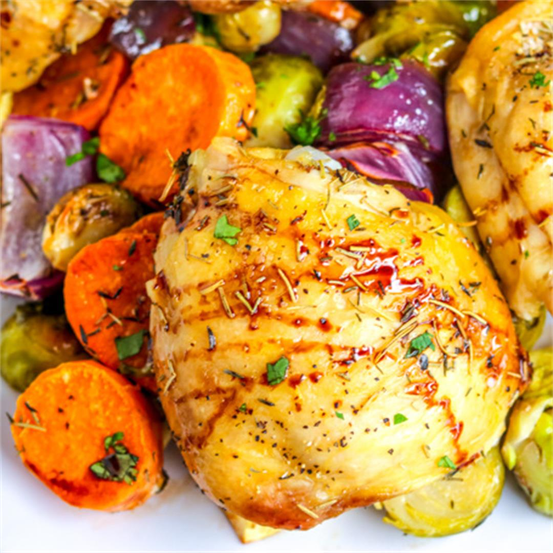 Roast Chicken Thighs with Vegetables and Balsamic Glaze