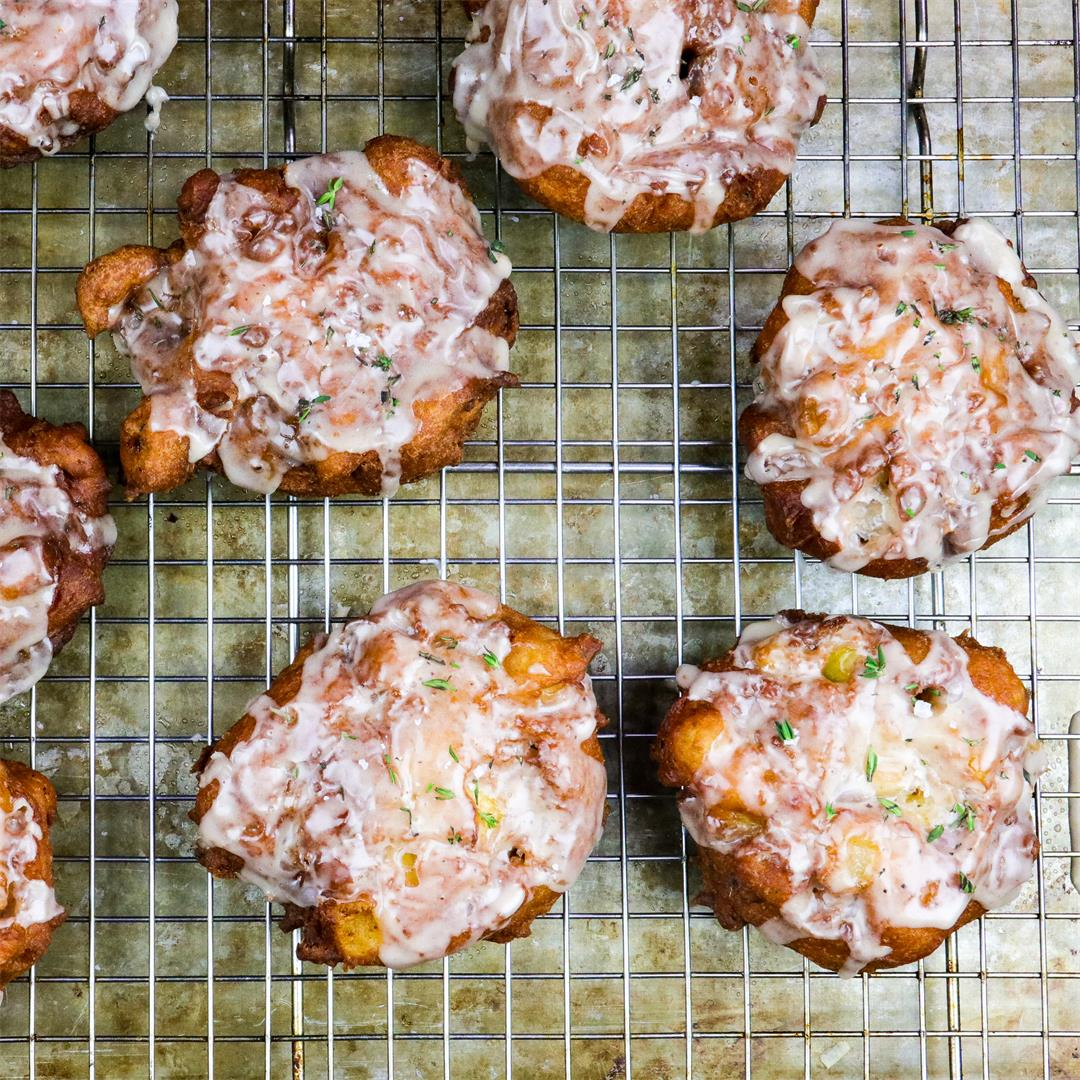 Spiced Apple & Thyme Fritters with Cider Glaze