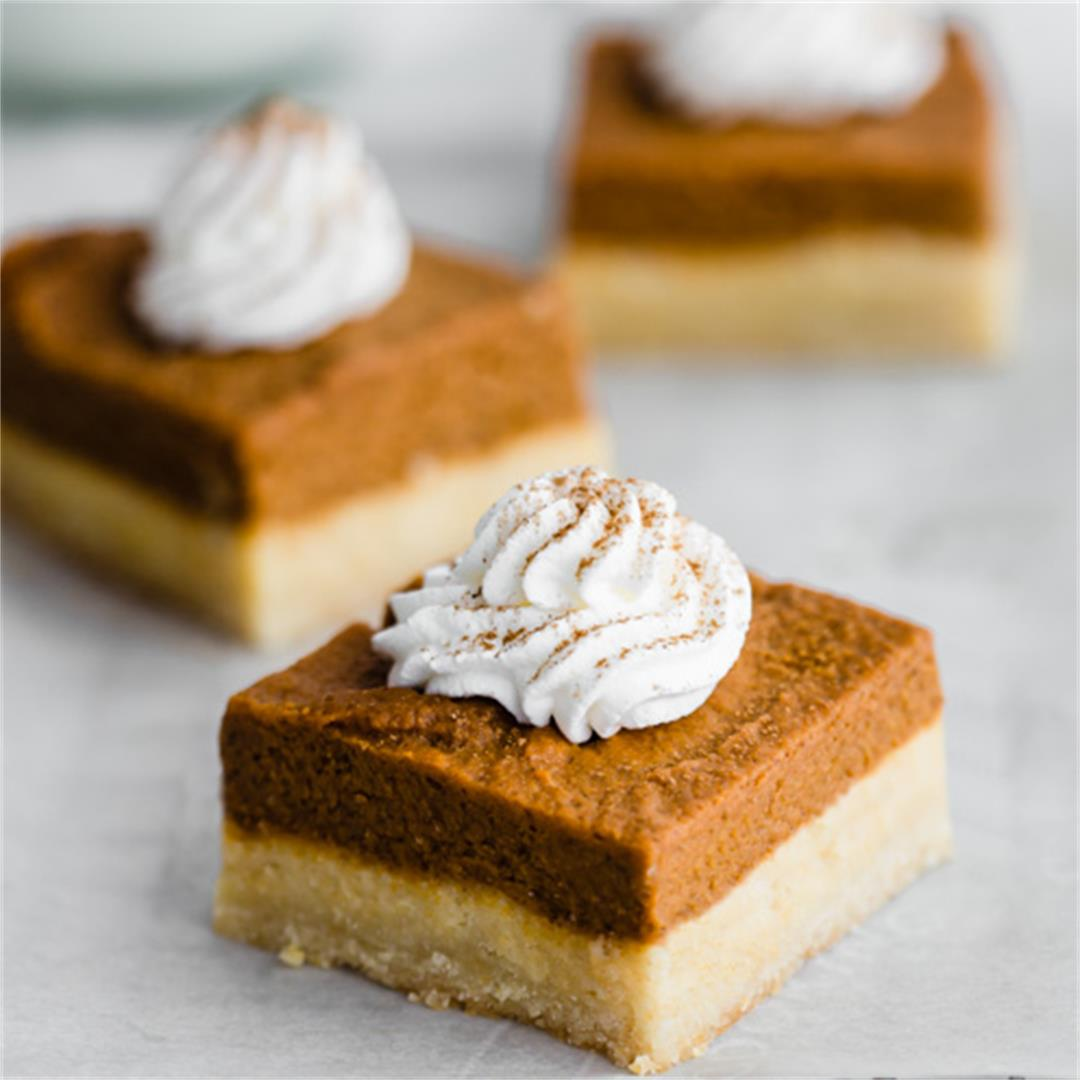 Vegan Pumpkin Pie Bars with Almond Cookie Crust