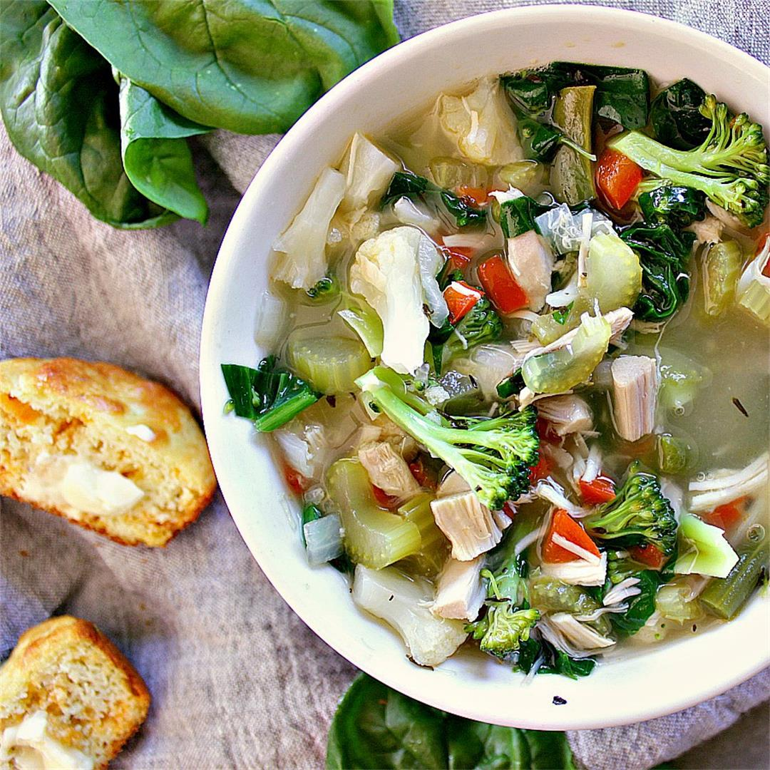 Fully Loaded Low Carb Chicken Soup