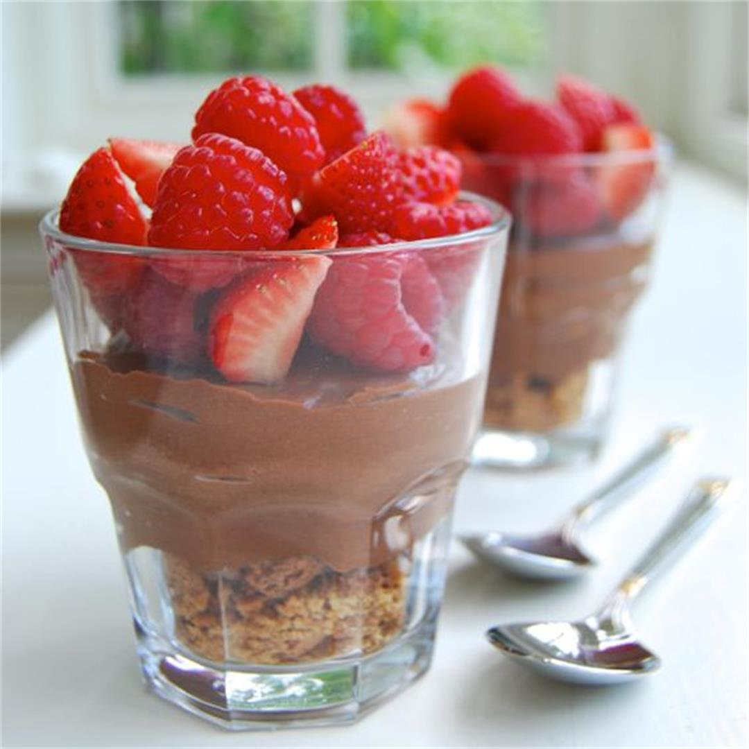 Chocolate, Summer Berry & Amaretti Cheesecake Cups