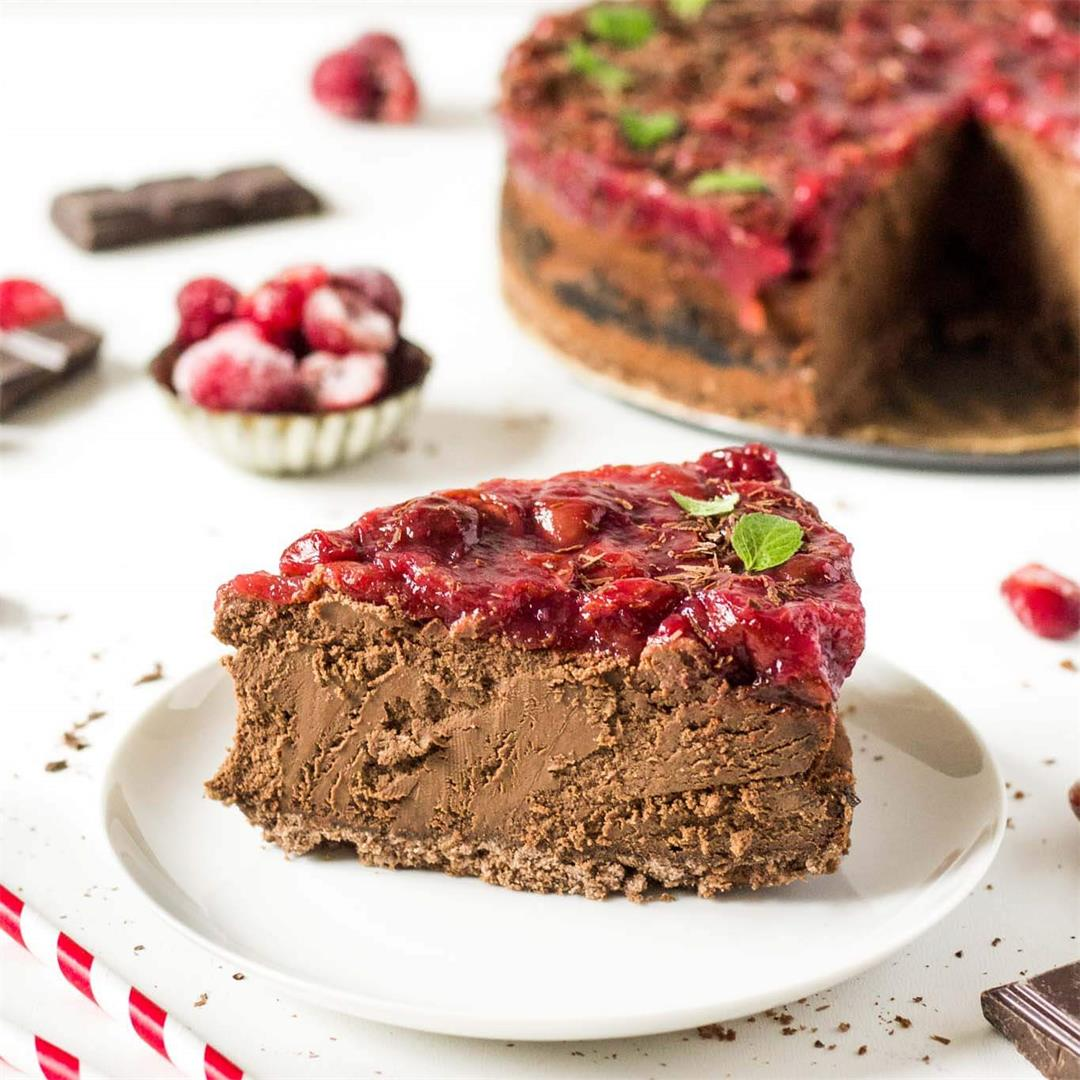 Chocolate Cheesecake with Cherry Sauce