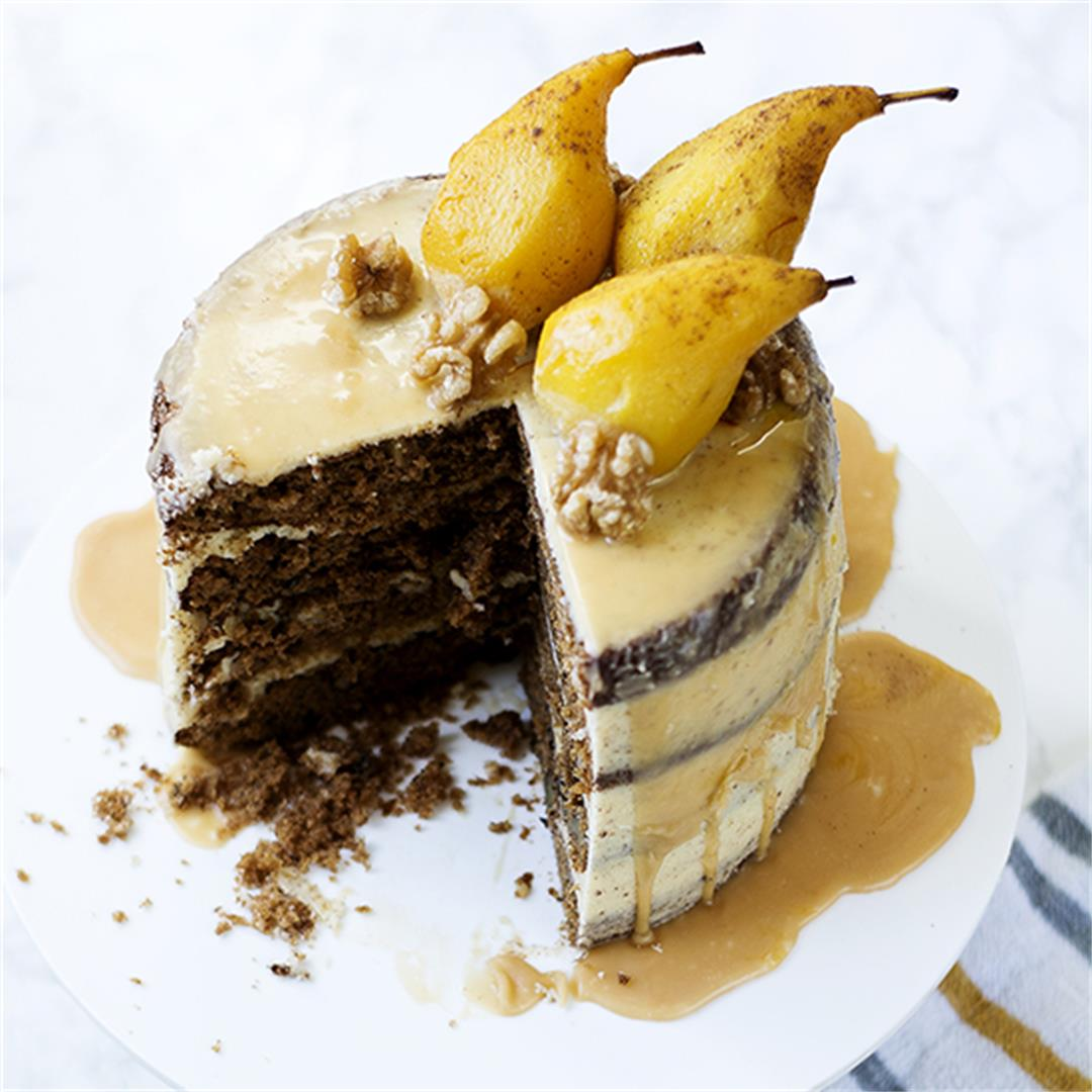 Spiced Pear and Walnut Cake