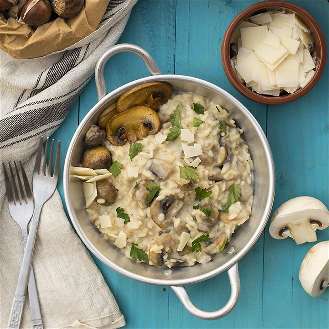 Mushroom and chestnut creamy risotto