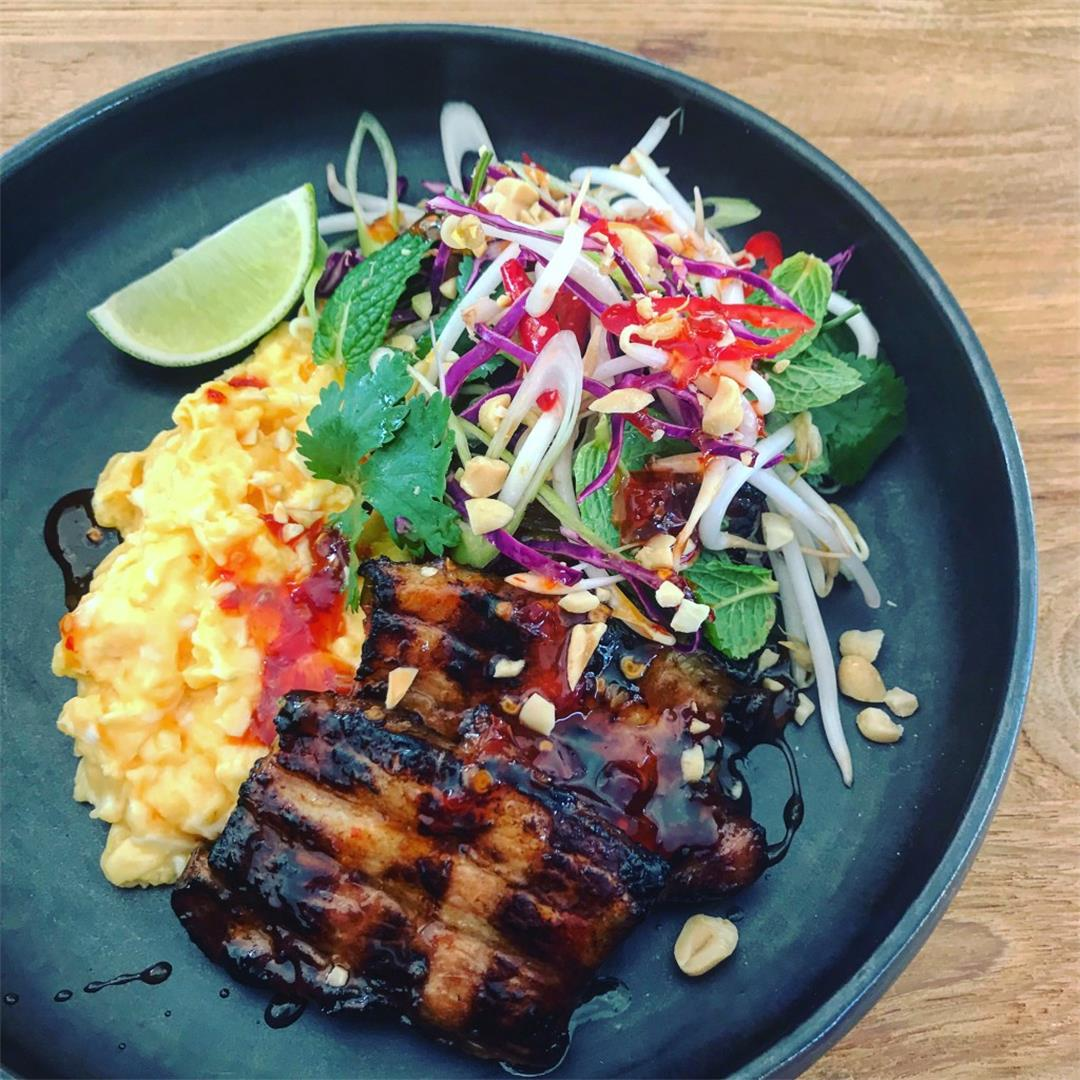 Glazed pork belly, soft scrambled eggs & Asian slaw