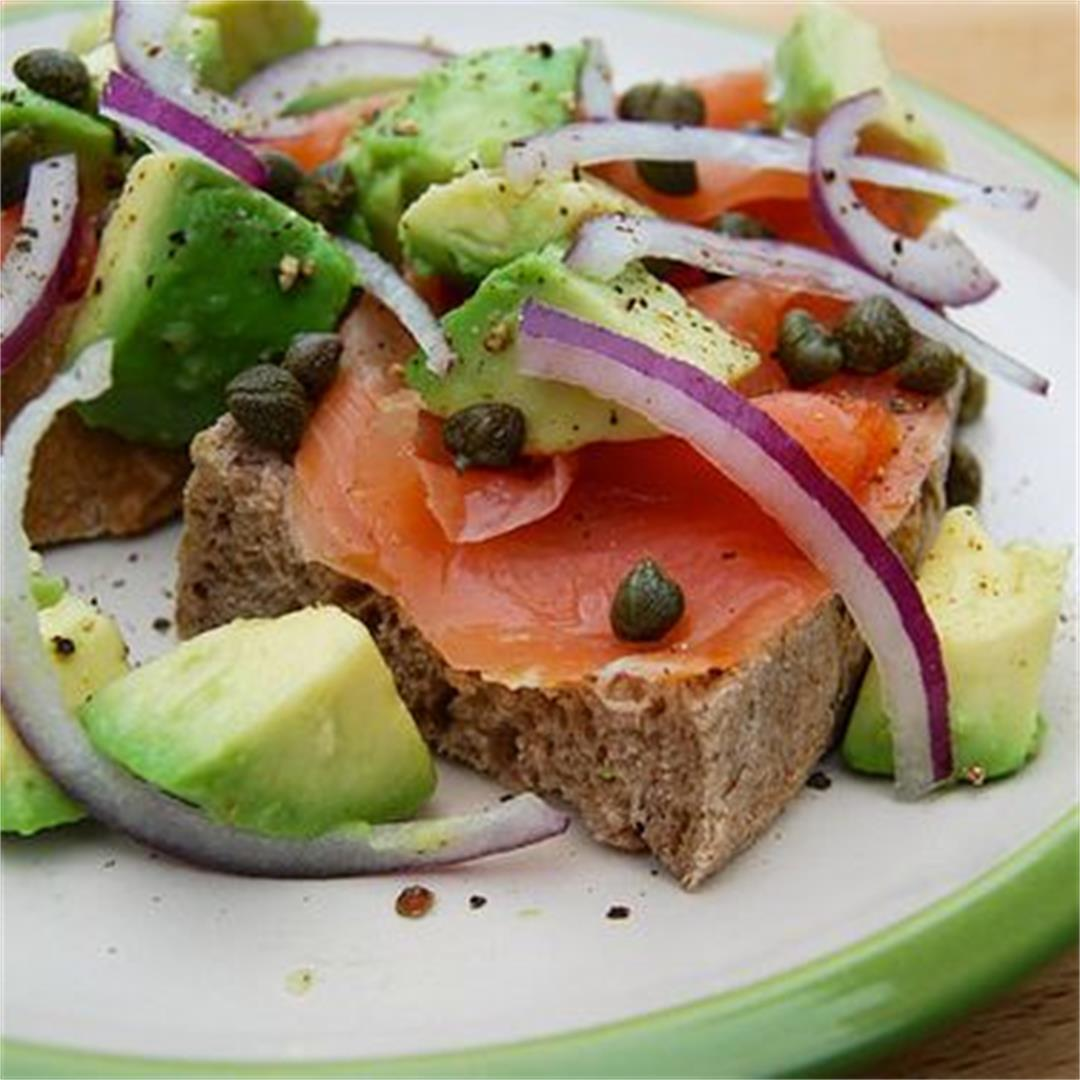 Smoked Salmon Tartine with Red Onion & Avocado