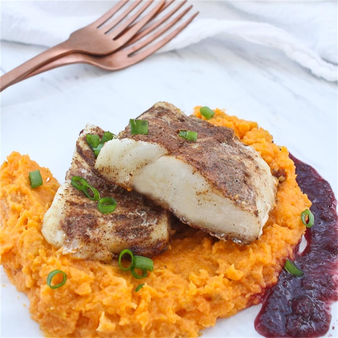 Spiced Cod with Sweet Potato Mash + Raisin Sauce (GF!)