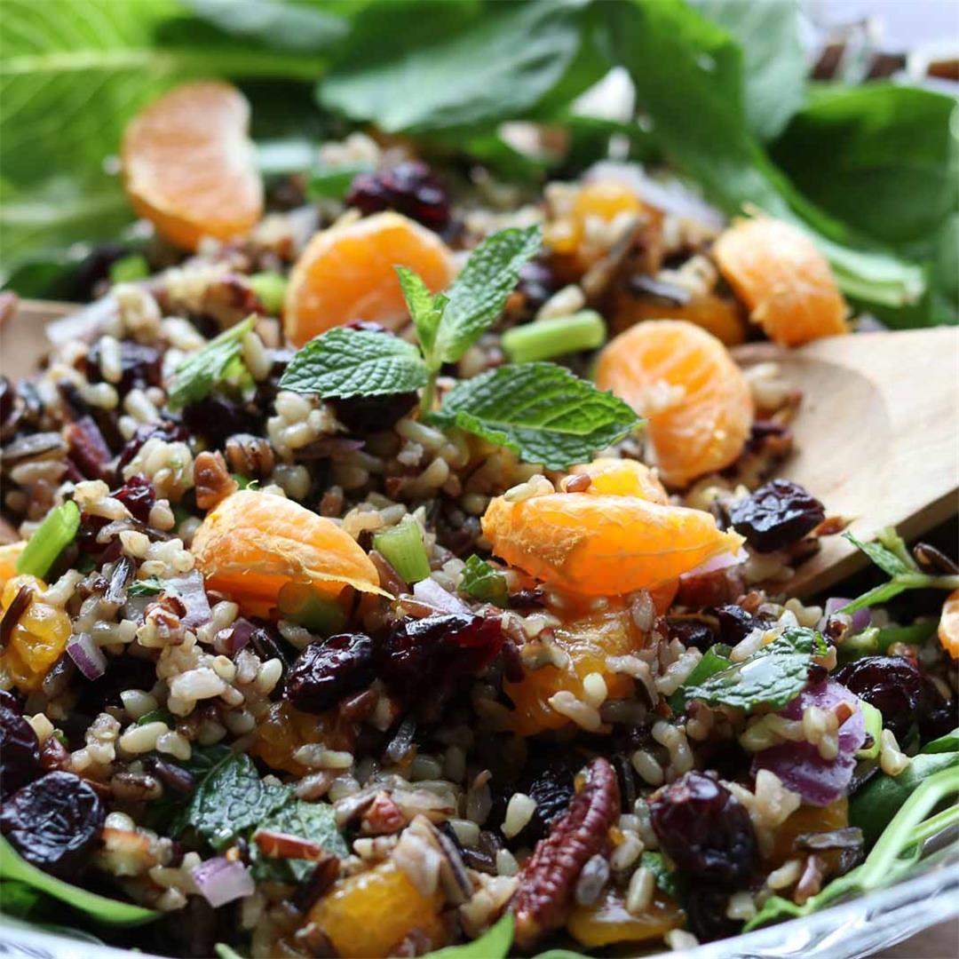 Mandarin Wild Rice Salad with Cranberries, Mint and Pecans