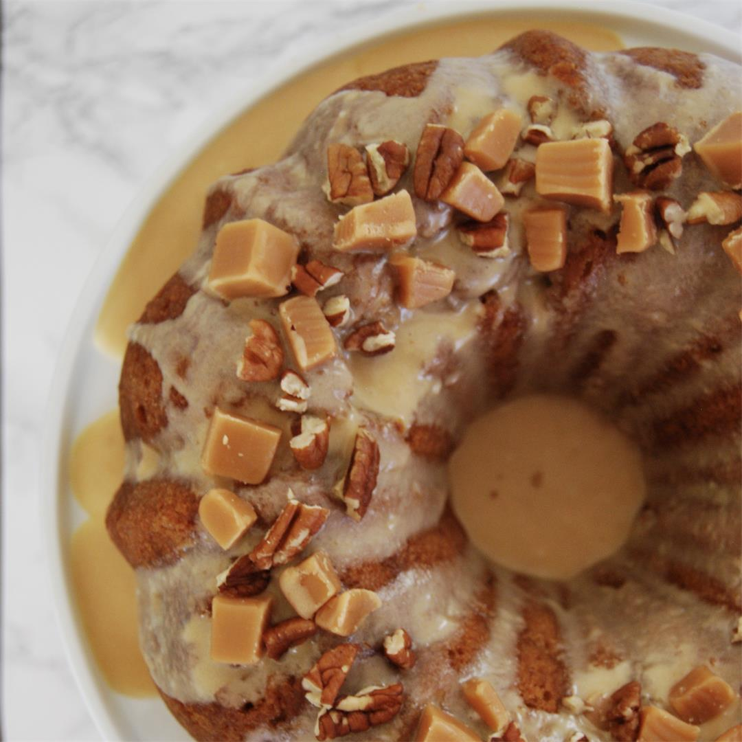 Double apple caramel bundt cake