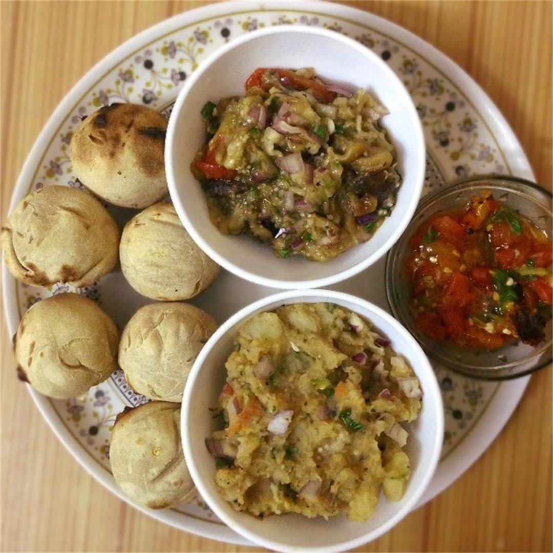 Homemade Bihari thali for dinner – Litti chokha