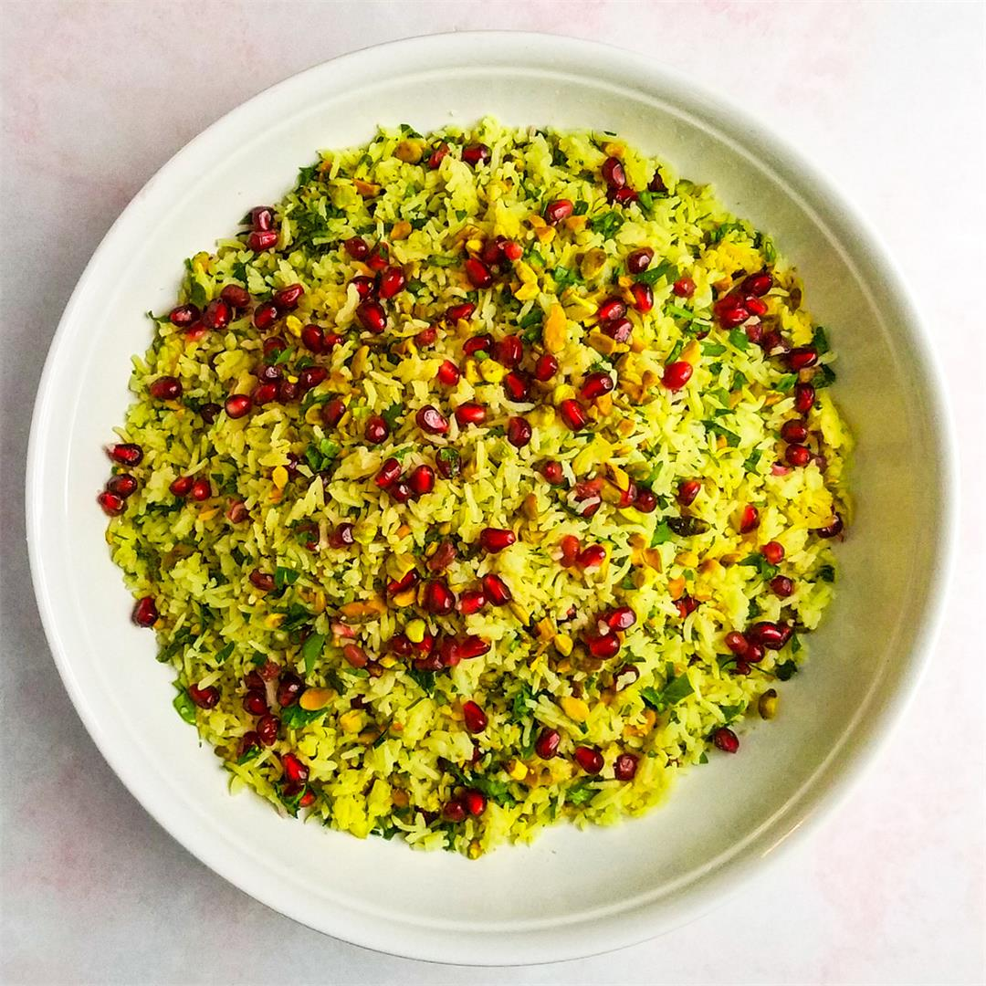 Jeweled Saffron Rice with Pistachio and Pomegranates