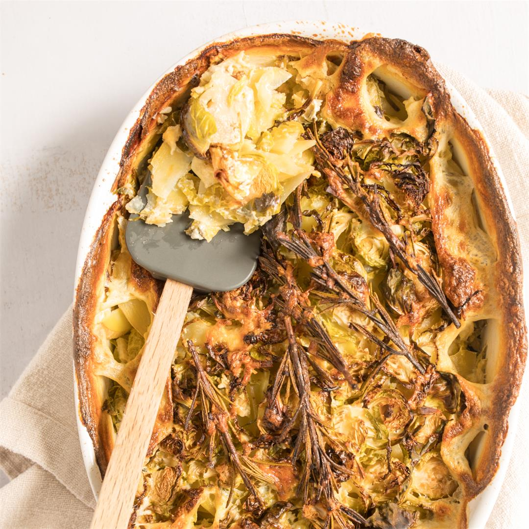 Rustic Potato & Brussels Sprouts Au Gratin