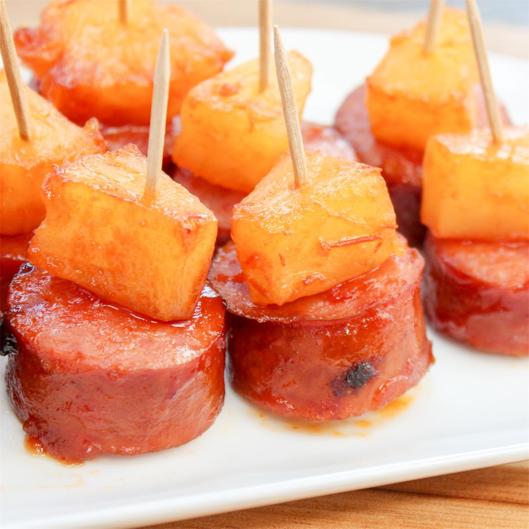 Glazed Smoked Sausage and Pineapple Bites