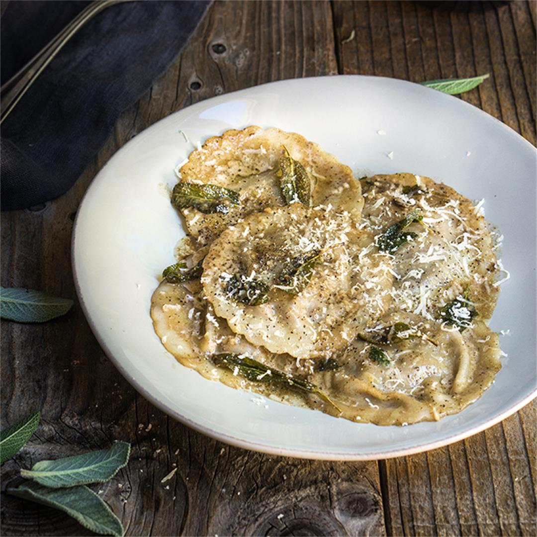 Mushroom pesto ravioli with sage butter sauce