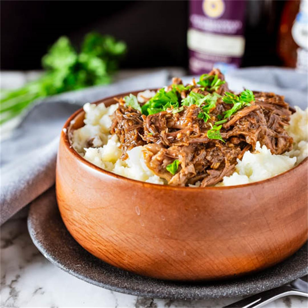Honey Balsamic Beef with Buttermilk Mashed Potatoes