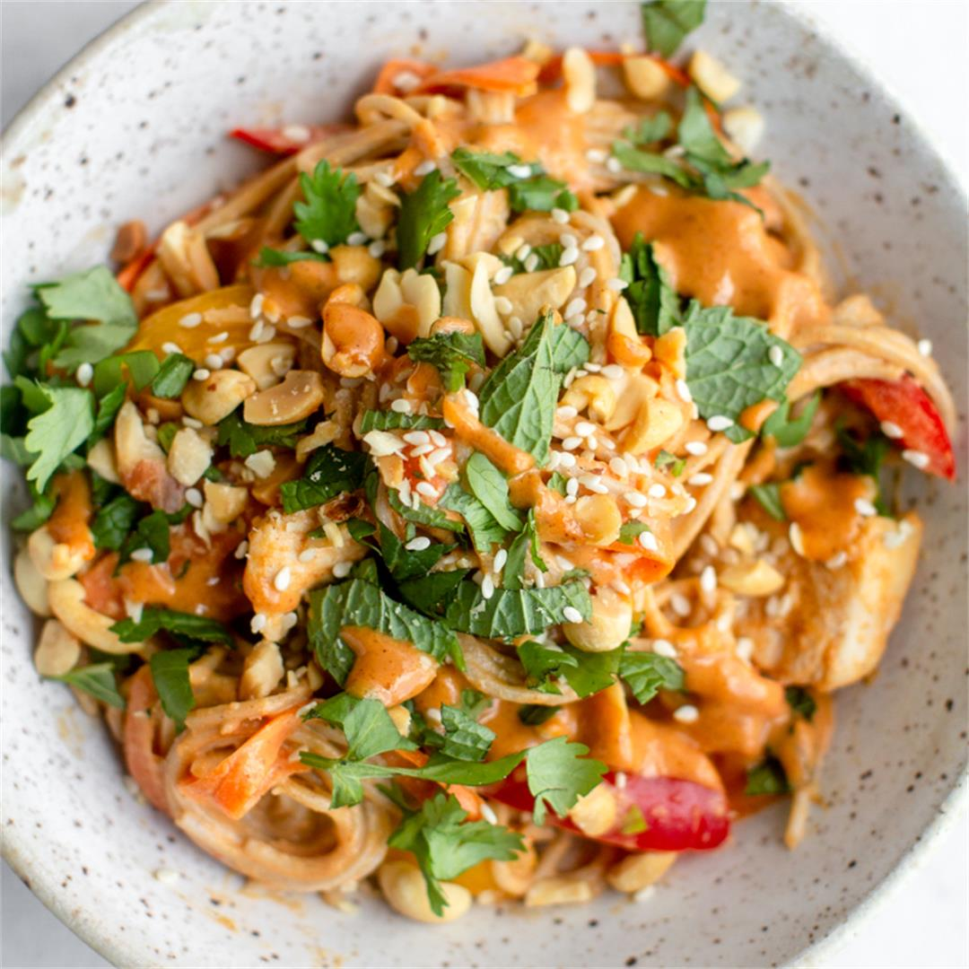 Thai Noodle Bowl with Creamy Peanut Sauce